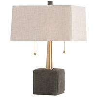 Gus 19 inch 60 watt Moss Gray and Brass Table Lamp Portable Light