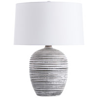 Galveston 23 inch 150 watt White Crackle Charcoal Wash and Nickel Table Lamp Portable Light