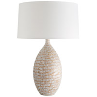 Meredith 30 inch 150 watt White Stained Crackle with Terra Cotta Table Lamp Portable Light