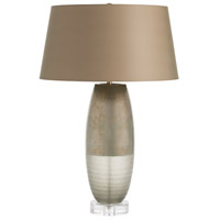 Desiree 27 inch 150 watt Sage Silveria/Speckled Taupe/Clear Acrylic Table Lamp Portable Light, Round