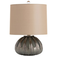 Eva 17 inch 150 watt Matte Charcoal Glass Table Lamp Portable Light, Round