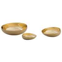 Rashida Matte Brass and Polished Brass Containers, Set of 3