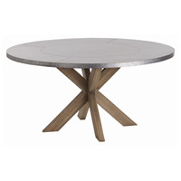 Halton 60 inch Galvanized and Waxed Wood Dining Table