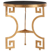 Bonnie Gold Leafed Iron/Chiseled Black Marble Side Table Home Decor