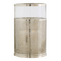 Arteriors 2497 Bombay 15 inch Polished Nickel and Clear Hurricane Portable Light, Small
