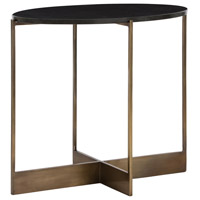 Taft 28 X 16 inch Antique Brass/Black Granite Side Table Home Decor