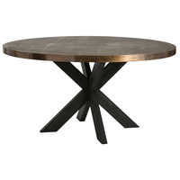 Halton 60 inch Espresso Wood/Antique Brass Dining Table