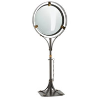 Darcy 25 inch Natural Cast Iron/Polished Brass Floor Mirror, Round
