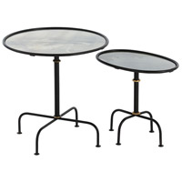 Dickens 20 inch Blackened Iron/Gold Leaf Nesting Table Home Decor, Set of 2,Round