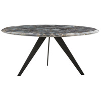 Essex Natural Iron/Blue Agate Cocktail Table Home Decor, Round