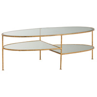 Emilia 43 inch Gold Leaf Cocktail Table Home Decor, Oval