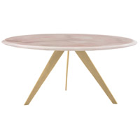 Essex 36 inch Gold Leaf/Rose Quartz Cocktail Table, Round