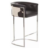 Calvin 39 inch Black and White Hide and Polished Nickel Bar Stool