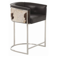 Calvin 33 inch Black and White Hide and Polished Nickel Counter Stool
