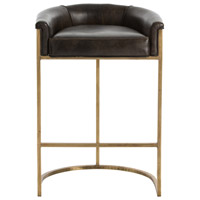 Calvin 35 inch Brindle Leather/Antique Brass Bar Stool