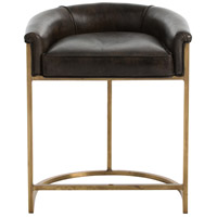 Arteriors Calvin Counter Stool in Brindle Leather/Antique Brass 2804