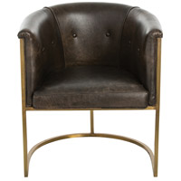 Calvin Brindle Leather/Antique Brass Arm Chair