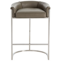 Calvin Dove Gray Leather/Polished Nickel Bar Stool Home Decor