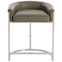 Arteriors 2821 Calvin 29 inch Dove Gray Leather/Polished Nickel Counter Stool