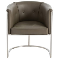 Calvin Dove Gray Leather/Polished Nickel Arm Chair