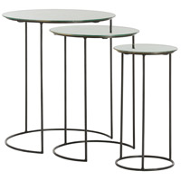 Osmond Natural Iron/Antiqued Mirror Nesting Tables Home Decor, Set of 3