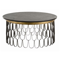 Orleans 36 inch Black and Gold Leaf Cocktail Table