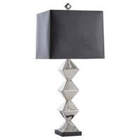 Cecilia 34 inch Polished Nickel/Black Granite Table Lamp Portable Light in Black/Silver