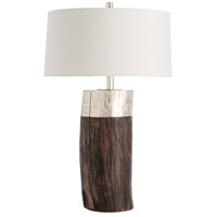 Emery 32 inch 150 watt Natural Wood/Silver Leaf Table Lamp Portable Light, Round