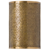 Fable 2 Light 9 inch Vintage Brass Sconce Wall Light, Rectangle