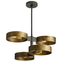 Rocco 4 Light 26 inch Antique Brass and Natural Iron Pendant Ceiling Light
