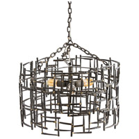 Ecko 3 Light 22 inch Natural Iron/Brass Chandelier Ceiling Light