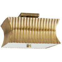 Arteriors 44922 Fitzgerald 2 Light 14 inch Vintage Brass Flushmount Ceiling Light