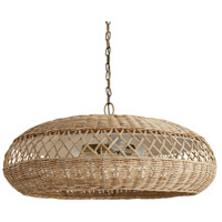 Rafa 3 Light 30 inch Natural and Antique Brass Pendant Ceiling Light