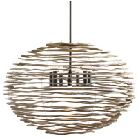Rook 6 Light 35 inch Natural and Blackened Iron Pendant Ceiling Light, Large