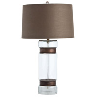 Arteriors 46633-163 Garrison 28 inch 150 watt Clear and Antique Brass Table Lamp Portable Light