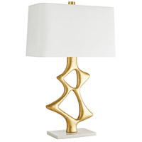 Paley 32 inch 150 watt Gold Leaf and White Marble Table Lamp Portable Light