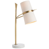 Yasmin 28 inch Antique Brass/White Marble Table Lamp Portable Light