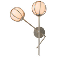 Millenium 2 Light 15 inch Champagne Leaf Sconce Wall Light, Left,Round