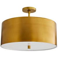 Arteriors 49266 Tarbell 3 Light 20 inch Antique Brass Semi-Flush Mount Ceiling Light