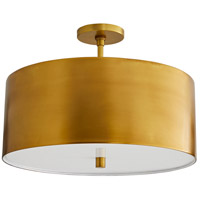 Arteriors 49266 Tarbell 3 Light 20 Inch Antique Brass Semi Flush Mount Ceiling Light Essential Lighting