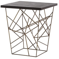 Liev 22 X 22 inch Antique Brass/Rough Hewn Black Marble Side Table Home Decor