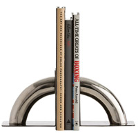 Faulkner 6 inch Polished Nickel Bookend, Set of 2,Round