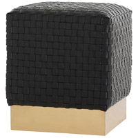 Emmit Black/Brushed Brass Ottoman, Square