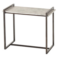 Hollis 26 X 22 inch Dark Natural Iron and White Side Table