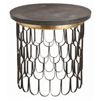 Orleans 24 inch Black and Gold Leaf Side Table