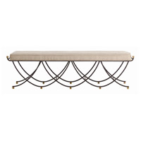 Felice Black and Vintage Brass Bench, Large