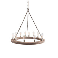 Arteriors 84171 Geoffrey 12 Light 36 inch Natural and Rust Chandelier Ceiling Light, Small