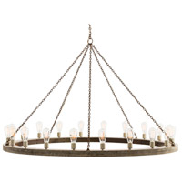Geoffrey 20 Light 60 inch Gray Wood/Rusted Iron Chandelier Ceiling Light