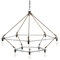 McIntyre 10 Light 56 inch Natural Iron/Jute Wrapped Cord Chandelier Ceiling Light, Two Tiered
