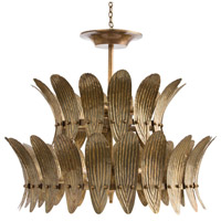 Analise 8 Light 26 inch Vintage Brass/Frosted Acrylic Diffuser Chandelier Ceiling Light